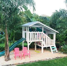 Such a stunning paint job & surrounded by tropical plants. Cubby House Kits, Kids Cubby Houses, Kids Cubbies, Play Houses, Backyard Playground, Backyard Retreat, Kids Yard, Build A Playhouse, Pallet Playhouse