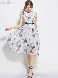 Buy Vintage Ink O-neck Sleeveless A-line Sheath Skater Dress with High Quality and Lovely Service at DressSure.com