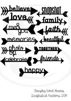 Everyday Word Arrows #svgcuttingfiles #cuttingfiles #SVG