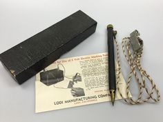 Vintage 6 Volt Electric Marking Pencil Lodi Possible Tattoo Machine + Box Paper #LodiManufacturingCompany