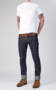 Nudie Jeans Tight Long John Dry Selvage Comfort Don't discount the Red Wing Iron Ranger boots. Nudie Jeans, Jeans Fit, Mens Cuffed Jeans, Jeans Style, Levis, Casual Wear, Casual Outfits, Men Casual, Casual Menswear
