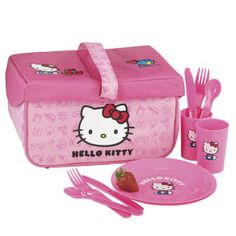 Pink Hello Kitty picnic basket for my niece. So cute!
