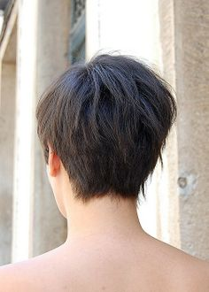 Asymmetrical Bob Back, block cut. Would look nice with tapered nape, and tapering continuing around he ears too.