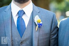 smart looking boutonniere with dusty miller leaf, yellow craspedia and a tuft of dark blue delphinium Blue Delphinium, Dusty Miller, Wedding Events, Dark Blue, Floral Design, Yellow, Atelier, Deep Blue, Floral Patterns