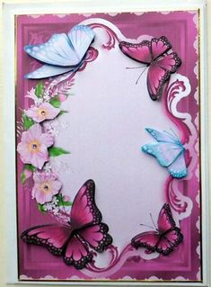 Burgundy Butterflies in a Flower Frame Decoupage on Craftsuprint designed by Sue Way - made by Mary Murphy - Printed on good quality card paper cut out and layered the elements trimmed with gold peel off and added some little stick on gems. Left it blank so the card can be used for any occasion  - Now available for download!