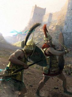 Achilles battles Hector before the walls of Troy ~ art by José Daniel Cabrera Peña & Rocío Espín Piñar