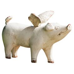 Showcasing a winged pig silhouette and weathered finish, this charming statuette adds a whimsical touch to your decor. Product: