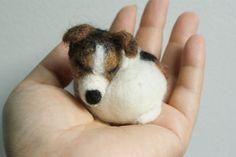 needle felted sleeping little dog jack russell brooch by kom2c