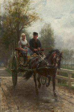 Indo passear Otto Eerelman (Holanda 1839-1926) óleo sobre madeira, 29 x 18 cm