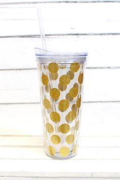 Gold Glitter Dots Tumbler {22oz} | Drinkware – The Fair Lady Boutique