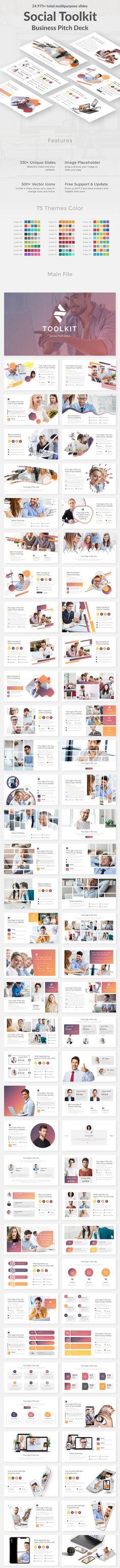 Social Toolkit Pitch Deck Google Slide Template Marketing Presentation, Business Presentation Templates, Corporate Presentation, Presentation Slides, Business Templates, Pitch Deck, Creative Powerpoint Templates, Keynote Template, Photoshop
