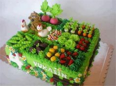 The Farm cake Pretty Cakes, Cute Cakes, Beautiful Cakes, Amazing Cakes, Crazy Cakes, Fancy Cakes, Vegetable Garden Cake, Vegetables Garden, Veggie Gardens