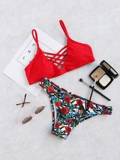 Red Floral Print Criss Cross Bikini Set