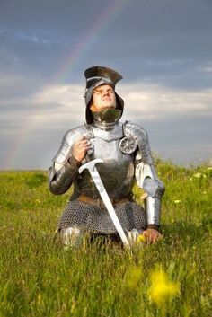 Weary knight is wise to get refreshed in God's Presence after the battle. Allow His Love to rain on your parched soul and bask in His Light. Just kneel before Him and soak up His rainbow of promises! All the strikes of your sword in the past battle will become the plow lines that make way for His Seed to sprout and grow spiritually delicious fruit for His Glory! You will take ground for His Kingdom!