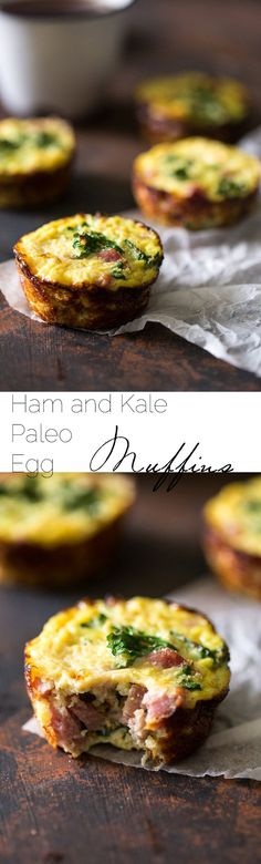 Paleo Ham, Egg and Cauliflower Egg Muffins - A healthy. protein packed portable breakfast that is ready in under 30 mins!   Foodfaithfitness.com   @FoodFaithFit
