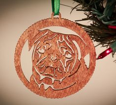 I Love My Pug Pug Doggie Christmas Ornament.  Pug by 5thP on Etsy, $4.25