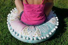 Lovebirds Pouf Little Miss Muffet Tuffet Floor Pillow by tickytavy, $85.00