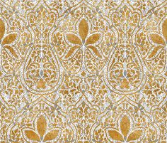 Rajkumari ~ White with Silvered and Gilt Gold ~ Batik fabric by peacoquettedesigns on Spoonflower - custom fabric