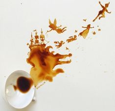 Giulia Bernardelli uses spilled coffee cups and turns them into coffee art creations. Coffee and food illustrations are created as if by accident. Food Art Painting, Coffee Painting, Art Paintings, Amazing Paintings, Coffee Artwork, Drawing Coffee, Ice Cream Sketch, Arte Sketchbook, Arte Disney