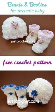 Preemie Bbeanie & booties | Free baby crochet pattern | #crochet