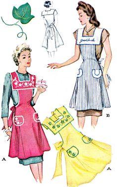1940s Apron Pattern McCall 1169 Womens Square Neck by paneenjerez, $25.00