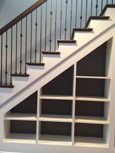 Shelves Under Stairs, Stairway Storage, Under Stairs Cupboard, Home Stairs Design, Home Interior Design, House Design, Basement Makeover, Basement Renovations, Basement Stairs