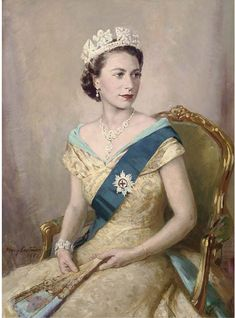 Mary Eastman (British, c.1953)   Portrait of Queen Elizabeth II, seated three-quarter length, in royal dress  signed and dated 'Mary Eastman/1953' (lower left)   oil on canvas   40 x 30 in. (101.6 x 76.2 cm.)