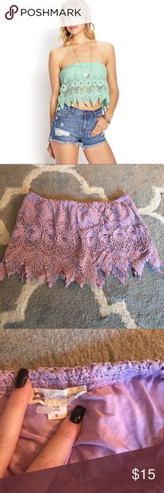 Purple crochet lace sleeveless crop top 🌟purple crochet lace sleeveless crop top 🌟Cotton Candy brand 🌟amazing condition, no flaws 🌟clean and comes from smoke free home 🌟size S 🌟14 inches across 🌟10 inches long Tops Crop Tops