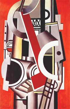 Fernand Leger. Machanical Elements, 1924.  Léger rejects illusion to focus on the  Here, Léger rejects illusion to focus on the mechanics of representation, drawing attention to them with roughly blocked forms, exposed supports, unmodulated color straight from the tube applied in painterly patches, and highlights detached from any light source. Strident black and white or colored striations clash with one another across the works.