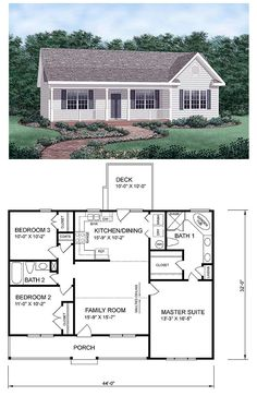 #Ranch #HomePlan 45476 has 1258 square feet of living space, 3 bedrooms and 2 bathrooms. Central & open to the floor plan, the kitchen and family room separate the master suite from the the smaller bedrooms. Walk through the dining area to the back deck.: