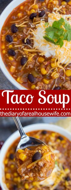 My all time favorite soup recipe. Yummy and easy to make Taco Soup.