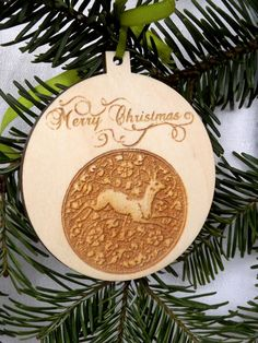 "This listing is for wood Christmas ball.  * Measurements: ball diameter 8 x 8,7cm (3.1 x 3.4""), thickness 3mm / 0.1"" (If you need other size please contact with me). * Choose your ribbon color (if you need other color, please write me):"