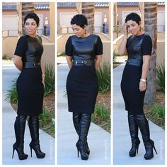 Love the combo of leather and stretch knits.  Check out that belt as well - edgy!
