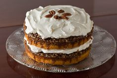 Praline Pumpkin Cake with Whipped Cream Frosting - Pinch My Salt