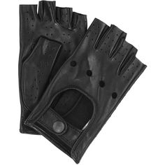 Alexander McQueen Black leather fingerless gloves (€395) ❤ liked on Polyvore featuring accessories, gloves, black, alexander mcqueen, hats gloves & scarves, leather gloves, fingerless leather gloves, real leather gloves and fingerless gloves