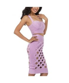 3 Piece Strap Lattice Hollow Out Rayon Bandage Dress - Lilac - - Women's Clothing, Dresses, Club & Night Out # # Fashion Night, Fashion 101, Fashion Tips For Women, Women's Summer Fashion, Fashion Looks, Fashion Outfits, Womens Fashion, Ladies Fashion, Fashion Styles