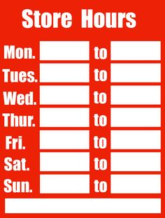 List your store or office hours with this printable business hours business hours friedricerecipe Images