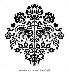 Polish Folk Art Rooster Polish folk art black pattern