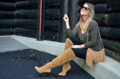 A.Co est. 1984: Tan Suede Over the Knee Boots