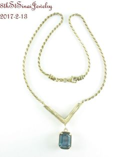 "Estate Sterling Silver 925 Emerald Cut Blue Glass Y Style Necklace 17"" Neckline #Unbranded #YNecklace"