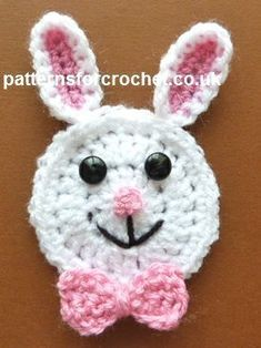 Rabbit applique # Free # crochet pattern link here    DISCLAIMER  First and foremost I take no credit for any of the FREE pattern links on this page none of these are any of my work but are the work
