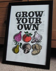 Grow Your Own - Lino Print Some Ideas, Grow Your Own, Printmaking, Arts And Crafts, Typography, Lino Cuts, Lino Prints, Graphic Design, Handmade Gifts