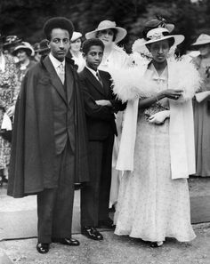 The Crown Prince Of Ethiopia (The Son Of Haile Selassie), Prince Asfa-Wossen With One Of His Brothers, Prince Makonnen (Duke Of Harrar) And Princess Tsehay At A Garden Party In England On June Haile Selassie, Black Royalty, African Royalty, Lion Of Judah, Black History Facts, African Diaspora, My Black Is Beautiful, African American History, Black People