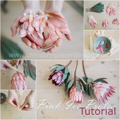Paper Protea Tutorial, a visual guide on how to make a pink ice paper protea. Paper Flowers Roses, How To Make Paper Flowers, Tissue Paper Flowers, Fabric Flowers, Origami Flowers Tutorial, Crepe Paper Flowers Tutorial, Paper Plants, Paper Bouquet, Leather Flowers