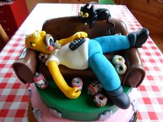 cake design homer simpson - Cerca con Google Delicious Cake Recipes, Yummy Cakes, Homer Simpson, Google, Desserts, Food, Design, Meet, Meal