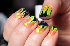 Polish All the Nails: Dry Marbling, Sandwich Decals and Neon!