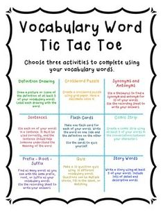 Tic Tac Toe Vocabulary Word Tic Tac Toe - Comes with worksheets/recording sheets for students to complete activities - Great for Daily 5 Word Work - Vocabulary Homework Vocabulary Strategies, Vocabulary Instruction, Academic Vocabulary, Teaching Vocabulary, Vocabulary Practice, Vocabulary Activities, Vocabulary Words, Listening Activities, Spelling Activities