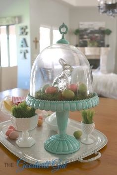 vintage thrift MilkGlass HomeGoods - Home Projects We Love Cake Stand Decor, Cake Stand Display, Cake Stands, Farmhouse Table Centerpieces, Diy Centerpieces, Hoppy Easter, Easter Eggs, Easter Bunny, Easter Cake Stand