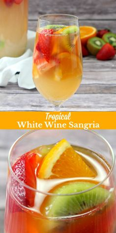 A dreamy Southern cocktail this Tropical White Wine Sangria is a bit of Summer in every single sip. A cool mix of white wine rum pineapple and orange juice & freshly sliced fruit- this drink is the adult beverage youve long been looking for. Fruit Drinks, Wine Drinks, Yummy Drinks, Healthy Drinks, Wine Mixed Drinks, Beverages, Tropical Alcoholic Drinks, Tropical Mixed Drinks, Best Mixed Drinks