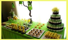 Green And Yellow Baby Shower Host Desserts Party